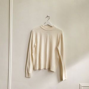 Vintage Sag Harbor White Mock Turtleneck Sweater